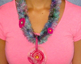 Pink pendant, unique, lightweight pendant, flowers, threads colored blue, purple, plastic melted glass stone