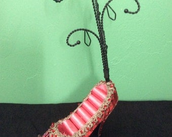 Red Jeweled Shoe Ring and Jewelry Display