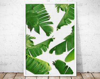 Banana Leaf Printable, Tropical Leaf Print, Banana Leaf Poster, Palm Leaf Print, Tropical Art, Botanical Leaf Printable Art, Scandi Print