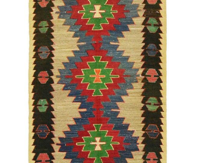 Free Shipping* 135 cm x 80 cm/ 4,42 x 2,62 ft / VINTAGE OUSHAK RUG Kilim Rug Oushak Rug Hand Woven Turkish Rug Vintage Mut Kilim Rug