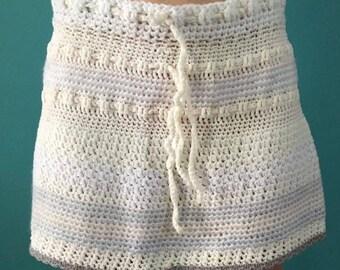 White crochet knit skirt