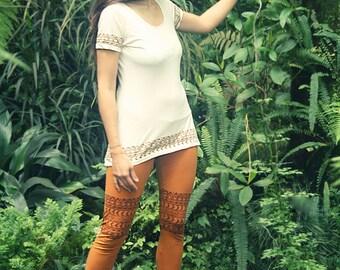 Tribal Block Print T-Shirt Longshirt Dress Organic Cotton Jersey