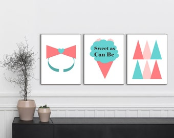 Sweet As Can Be, Ice cream Print, Coral and Teal Print, Nursery Art, Nursery Wall Art, Nursery Decor, Nursery Print, Girls Room, Set 3 Print