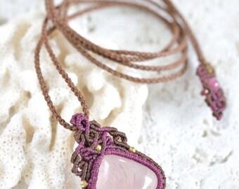 Rose Quartz Macrame Pendant