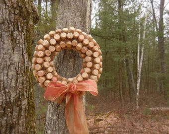 Wine Cork Wreath with iridescent  rose gold ribbon and moss