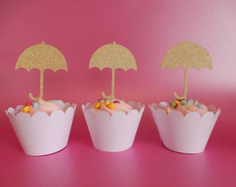 12 x Gold Umbrella Glitter Cupcake Toppers - Double sided. Birthday, Wedding, Party Decorations, Handcrafted