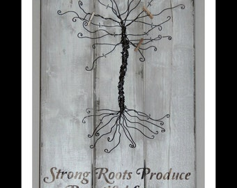 Distressed Rustic Family Tree Frame Photo Holder