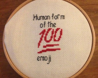 Brooklyn 99 Inspired Cross Stitch Art- Gina Linetti Quote 'Human form of the 100 emoji'