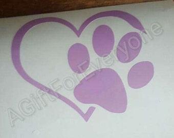 Dog heart decal