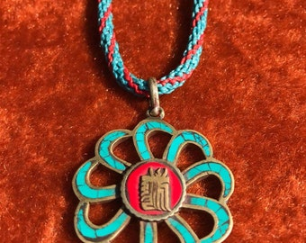 Tibetans pendant with Red Coral and quality turquoise.