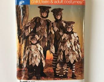 Simplicity 0564 OWL Costume Sewing Pattern Adult, Teen and Child Sizes Woodland Creatures Bird Cosplay 2531 Tunic Hood Tote Bag