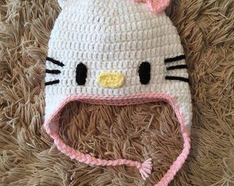 Crochet Kitty Earflap Hat,Child hat,Fun Newborn Baby Cap,Knitted hat,Hello Kitty hat,Baby winter hat,Crochet baby hat,Baby hat, K023