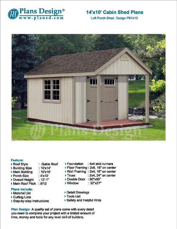 14 39 X 10 39 Cabin Loft Backyard Shed With Porch Blueprints