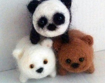 Needle Felted Bears. 3 Small Handmade Fuzzies
