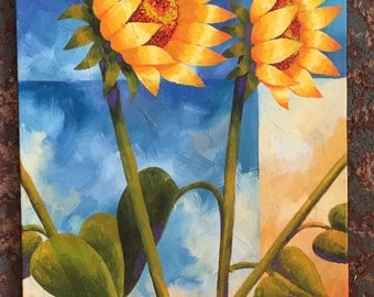 Sunflower, Set of 3 canvases