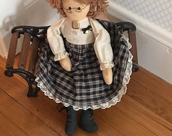 vintage doll and bench