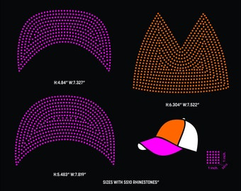 Cap rhinestone template digital download, svg, eps, studio3, png, dxf