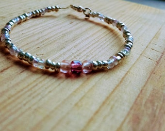 Delicate Wire Bracelet with Silver, Pink, Purple and Clear Beads