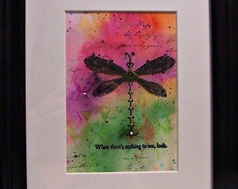 Mixed Media Watercolor framed - Dragonfly - look