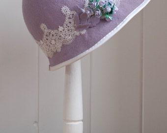 Lilac Wool Felt Cloche - 1920's Style