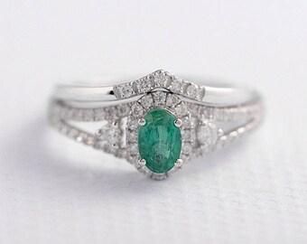 Emerald Ring Set Oval Cut Engagement Ring White Gold Emerald Diamond Wedding Band Chevron Ring Anniversary Promise Split Shank Birthstone