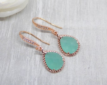 Earrings rose gold drops Mint wedding bride Bridal jewelry