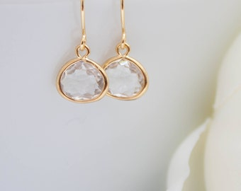 Small yellow gold earrings Crystal