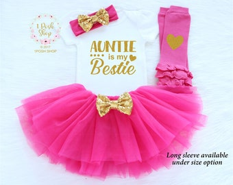 Auntie Is My Bestie, Baby Shower Gift, Baby Girl Newborn Outfit, Baby Girl Clothes, My Aunt Is the Best, Auntie's Mini, Auntie's Bestie FA4