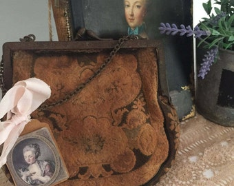 Antique french shabby tapestry purse