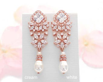 Pearl drop bridal earrings, Rose Gold, crystal wedding earrings, cubic zirconia, bridal jewelry, swarovski pearl, wedding jewelry, for her