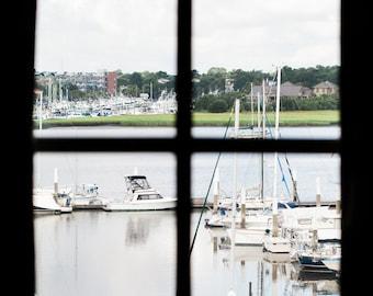 Charleston Harbor Marina Through Window Print Print