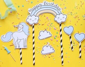 Unicorn Cake Topper - Toper Rainbow birthday