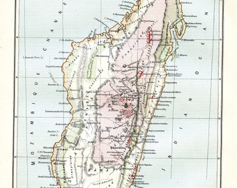 Map of Madagascar. Original Victorian Antique print from the ninth edition of the Encyclopaedia Britannica (1875-1889).