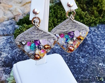 Beaded Herringbone Earrings