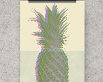 Pineapple Print, Pineapple decor, Art Prints, Retro Art, fruit print, printable prints, retro decor, digital download, digital art download