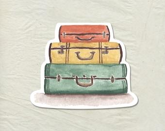 Luggage Decal - Luggage Vinyl Sticker - Watercolor Travel Decal - Luggage Sticker - Laptop Sticker - Travel Sticker - Adventure Sticker