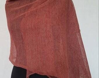Red linen scarf, red scarf, red linen scarves, red scarves, summer scarf, summer scarves, linen scarf, knit scarf, knit scarves