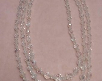 three strand crystal necklace