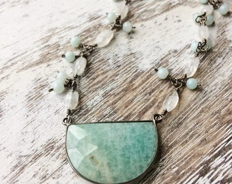 Amazonite Necklace, Moonstone Necklace, Oxidized Sterling Silver Necklace, Spring Necklace, Mint Green Necklace