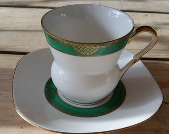 Vintage teacup with square saucer, beautiful Wawel Polish bone china tea cup and saucer with green and gold decoration