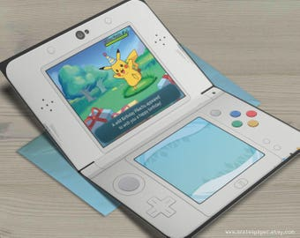 Pikachu Pokemon Sun Moon Happy Birthday Nintendo 3DS Gamer Nerdy Anime Video Game Greeting Card