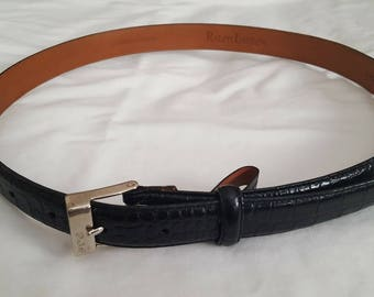 1990s VINTAGE RAPLH LAUREN Unisex Leather Black Snakeskin Embossed Belt with Silver Trim. Classic! Awesome looking! Sz Large.