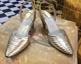 1960's silver and gold striped Ferragamo eveningwear pumps - size 6 1/2
