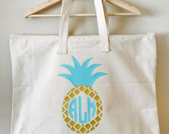 Personalized Pineapple Tote Bag / Zippered Canvas Beach Bag / Cruise Bag / Customized Tote Bag / Large Canvas Tote Bag