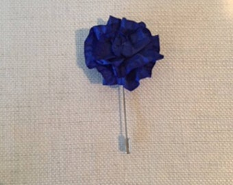 Men's royal blue frilled lapel pin boutonniere polyester fabric handmade in USA suitable for fathers day weddings Kentucky and gifts