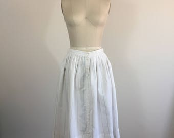 Eggshell White Linen Pleaded Midi Skirt with Stripes and Buttons Down the Front