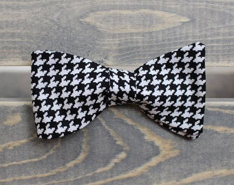 Black and White Houndstooth Bow Tie - Self Tie Bow Tie - Mens Bow Tie