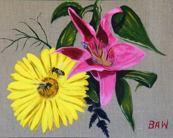 Acrylic Painting on Natural Canvas - To Bee or Not to Bee - Flowers and Bees  460 mm x 610 mm