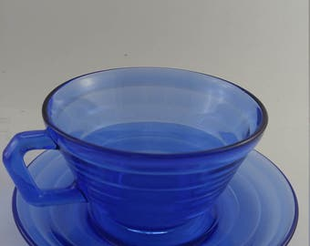 Cup and Saucer Blue Moderntone Hazel Atlas Vintage 4 REDUCED