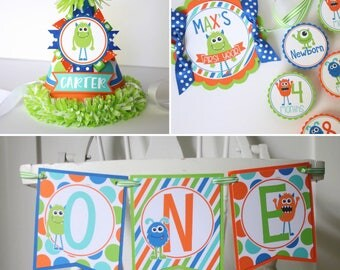 Little Monster FIRST BIRTHDAY Package - High Chair Banner, Monthly Photo Banner, Party Hat